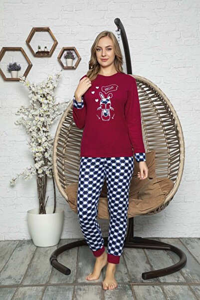 Kompedan Kadın  Bordo Desenli Polar Pijama Takımı Rnd 5808