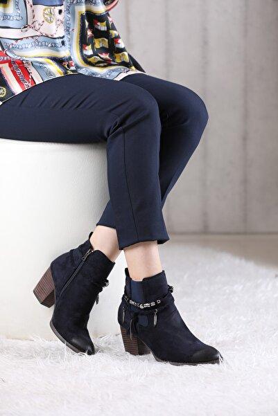 VİVA Kadın Lacivert Topuklu Bileği Boncuklu Bot
