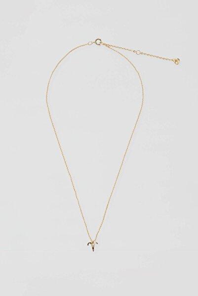 Pull & Bear Kadın Altın Rengi Metal Koç Burcu Kolye 04991315