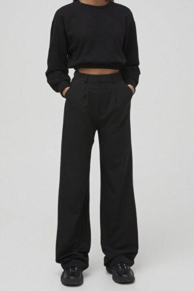 Pull & Bear Kadın Siyah Pensli Basic Pantolon 04676306