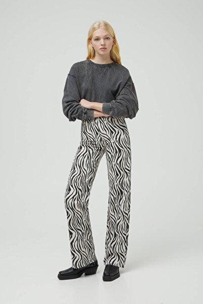Pull & Bear Kadın Renkli Zebra Desenli Straight Fit Pantolon 09678328