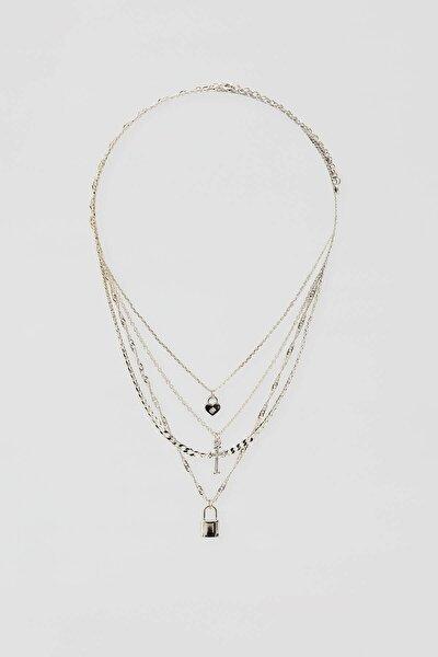 Pull & Bear Kadın Gümüş 4'Lü Asma Kilit Ve Kalp Uçlu Kolye Seti 04991307