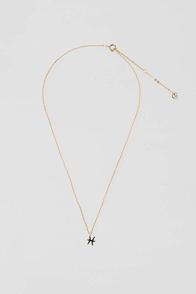 Pull & Bear Kadın Altın Rengi Metal Balık Burcu Kolye 04991314