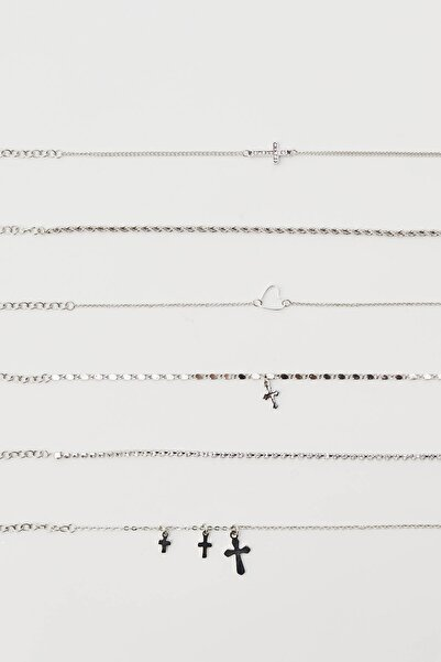 Pull & Bear Kadın Gümüş 6'Lı Kalp Ve Sembollü Bileklik Seti 04991306