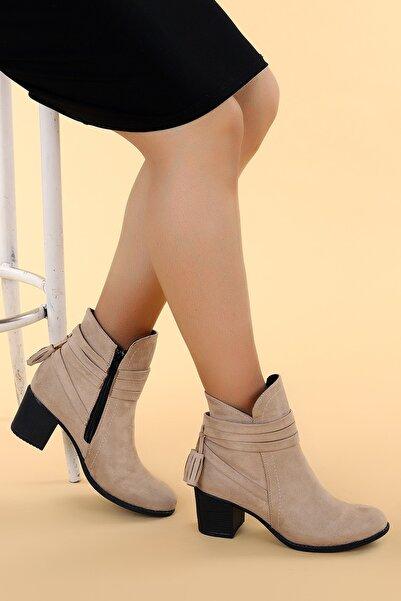 Ayakland Kadın Süet Günlük 6cm Topuk Bot Ayakkabı 8422-832
