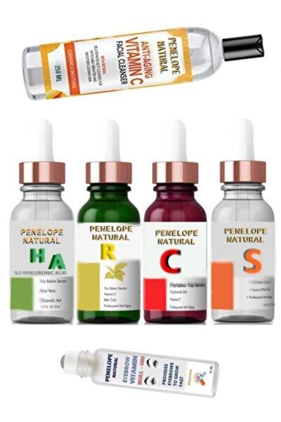 Penelope Cilt Bakım Serum Set H-c-r-s + Yüz Temizleme C Vitamin Tonik + Kaş Çıkartan Rolon-kaş Vitamini