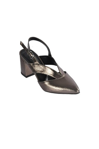 pabucmarketi Kadın Platin Rugan Topuklu Ayakkabı
