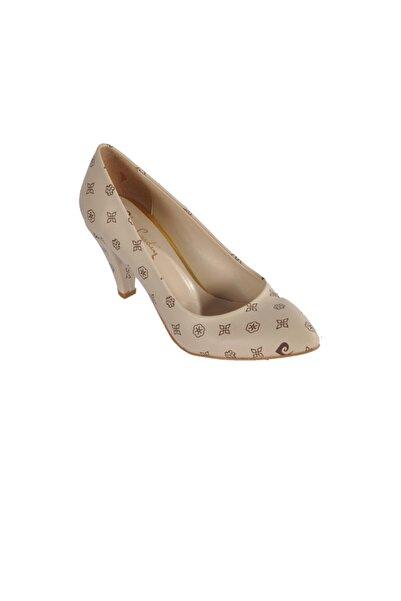 Pierre Cardin Kadın Bej Desenli Topuklu Ayakkabı