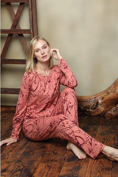 İPEKTENİM TEKSTİL Kadın Pembe Önden Düğmeli Pijama Takım