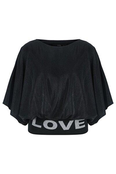 Say Kadın Siyah Eteği Simli Ribanalı Piliseli Bluz