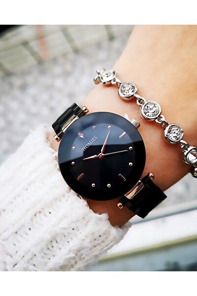 Homies Kadın Siyah Çelik Saat