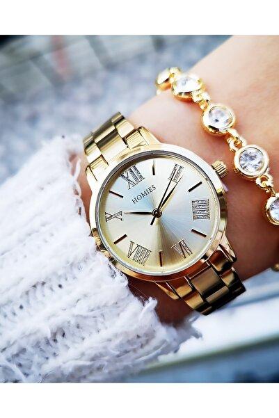 Homies Kadın Altın Renk Çelik Saat