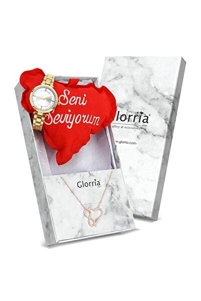 Glorria Kadın Gümüş Kalp Sonsuzluk Kolye Seti