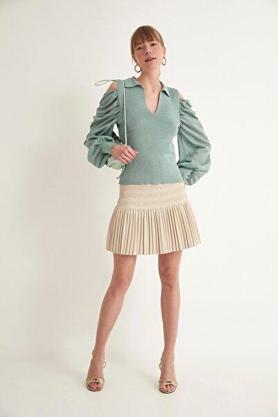 JOIN US Kadın Mint Transparan Polo V Yaka Omuzları Açık Triko Bluz