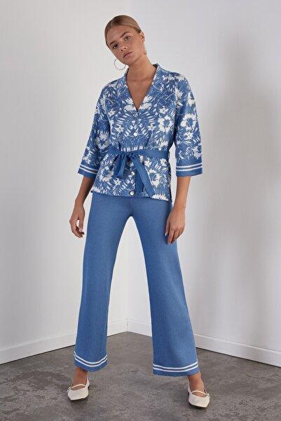 JOIN US Kadın Mavi Beli Lastikli Triko Pantolon