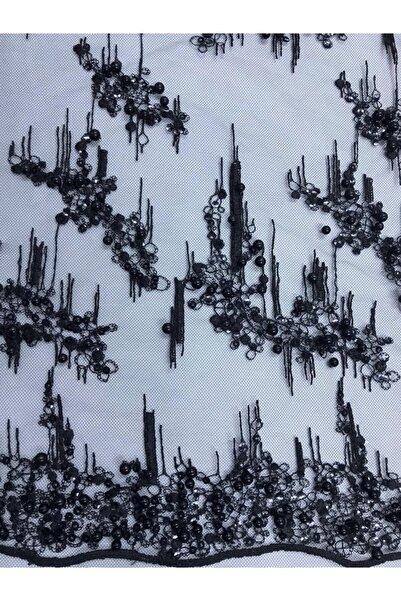 Kumaş Home Abiye Inci Boncuk Işlemeli Kabartmalı Dantel Kumaş En 140 Cm Siyah