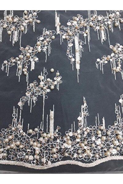 Kumaş Home Abiye Inci Boncuk Işlemeli Kabartmalı Dantel Kumaş En 140 Cm Somon