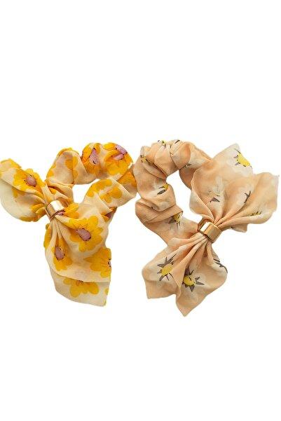 Virgoo 2'li Sarı Ve Krem Rengi Çiçek Desenli Lastikli Fiyonk Toka