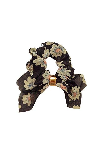 Virgoo Siyah Çiçek Desenli Lastikli Fiyonk Toka