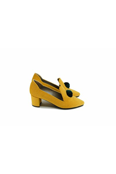 MAKIELA Blair Kadın Sarı Yeşil Kadife Tafta Kurdele Topuklu Ayakkabı