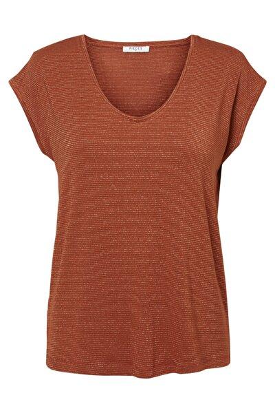 PIECES Kadın Tarçın Çizgili T-Shirt 17078572 PCBILLO