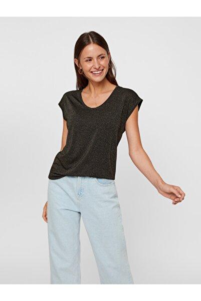 PIECES Kadın Siyah Çizgili T-Shirt 17078572 PCBILLO