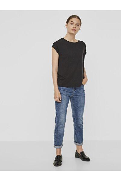 Vero Moda Kadın Siyah Basic Kısa Kollu Üst T-Shirt 10187159 VMAVA