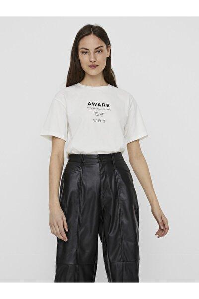 Vero Moda Kadın Beyaz Önü Baskılı Pamuklu Kısa Kollu T-Shirt 10231133 VMLILJE