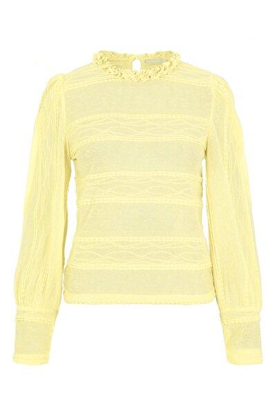 PIECES Kadın Sarı Yakası Fırfırlı Bluz 17107930 PCCOLETTE