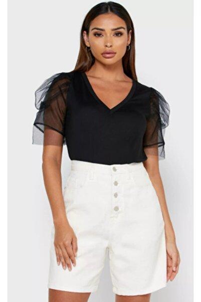 Vero Moda Kadın Siyah Kısa Organze Kollu T-Shirt 10233599 VMFIA