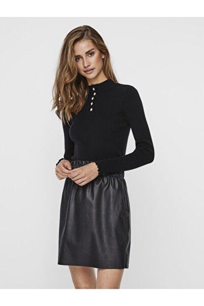 Vero Moda Kadın Siyah Düğme Detaylı İnce Kazak 10239436 VMELIN