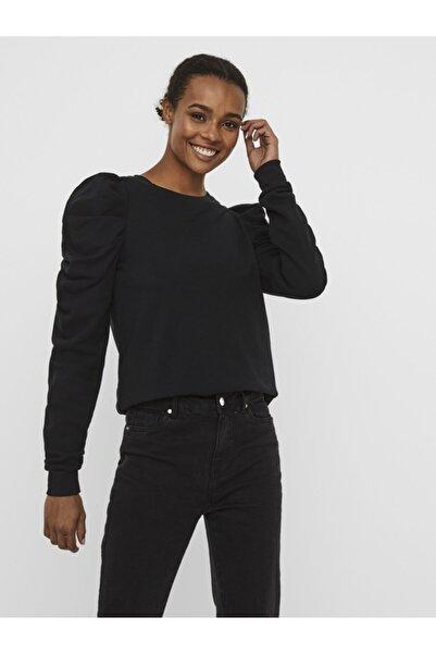 Vero Moda Kadın Siyah Puf Kollu Sweatshirt 10241014 VMZOE