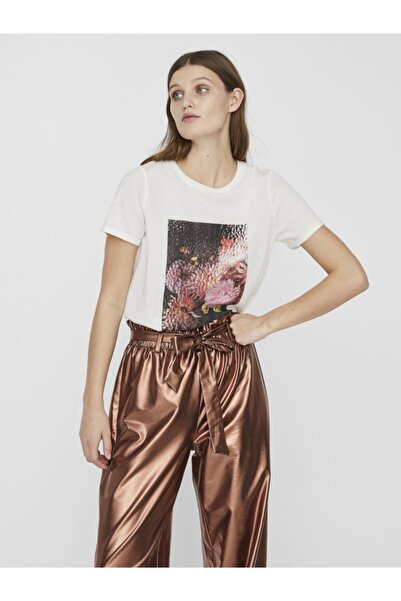Vero Moda Kadın Beyaz Önü Baskılı Pamuklu Kısa Kollu T-Shirt 10237955 VMBLURRY