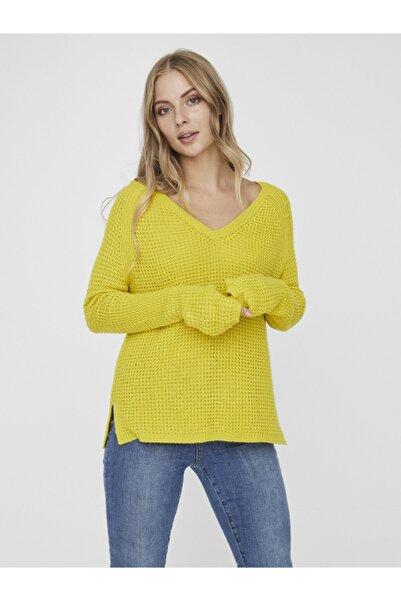 Vero Moda Kadın Sarı Uzun Kollu V-Yaka Kazak 10231592 VMLEANNA