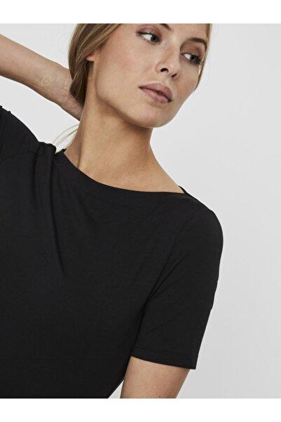 Vero Moda Kadın Siyah Geniş Yakalı Kısa Kollu Tencel T-Shirt 10231755 VMPANDA