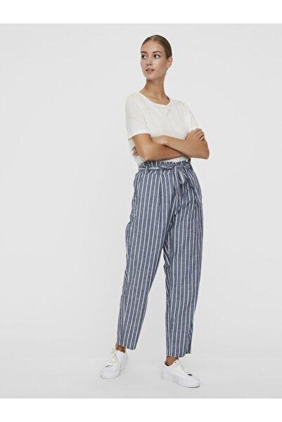 Vero Moda Kadın Mavi Belden Bağlamalı Çizgili Yazlık Pantolon 10211708 VMEMILY