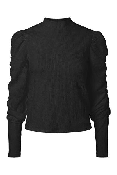 Vero Moda Kadın Siyah Uzun Kollu Büzgü Detaylı Bluz 10244335 VMSIE