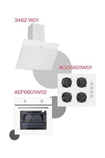Esty Beyaz Ekonomik Set (3462 60 cm Davlumbaz - ACO5601W01 Cam Ocak - AEF6601W02 Fırın)