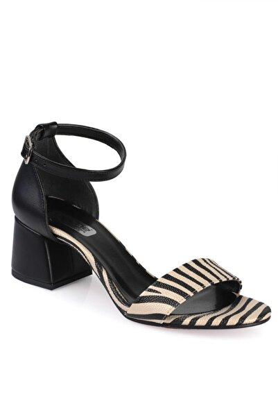 Capone Outfitters Kadın Altın Zebra Desenli Sandalet