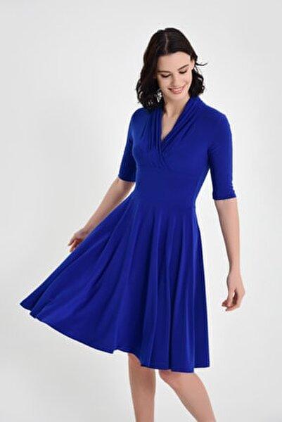 Kadın Sax Mavi Yaka Detay Hareketli Etek Elbise