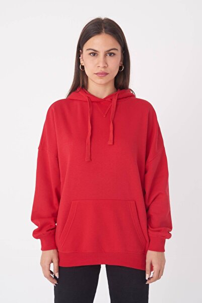 Addax Kadın Kırmızı Kapüşonlu Sweatshirt ADX-0000014040
