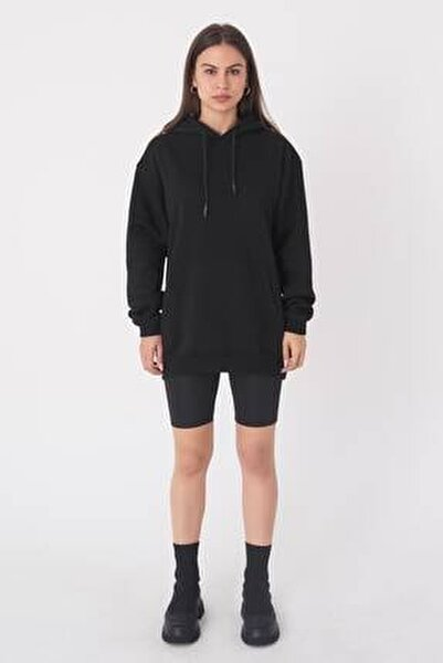 Kadın Siyah Kapşonlu Oversize Sweat S0925 - G11 ADX-0000022256