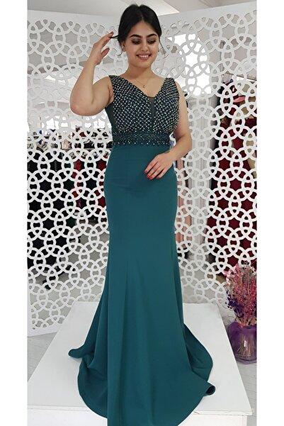 FERGAN Kadın Yeşil Taşlı Balık Abiye Elbise
