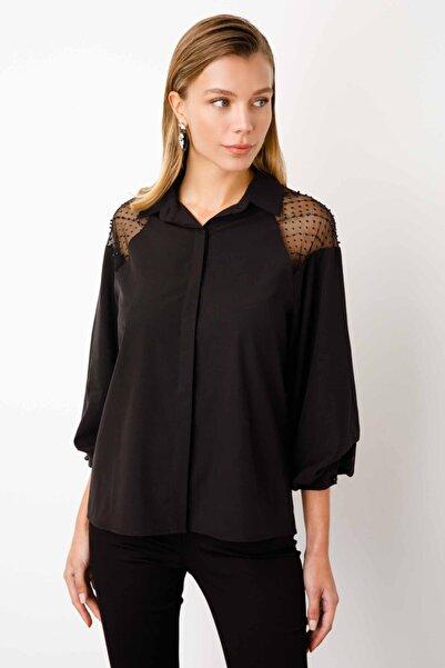 Ekol Kadın Balon Kol Poplin Kumaş Gömlek