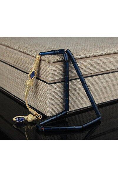 Tesbih Store 1000 Ayar Gümüş Püsküllü Lacivert Kesme Model Sıkma Kehribar Tesbih