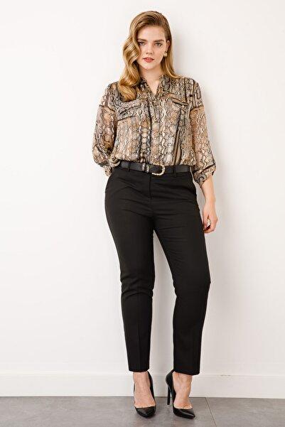 Ekol Kadın Siyah Beli Kemerli Dar Paça Pantolon