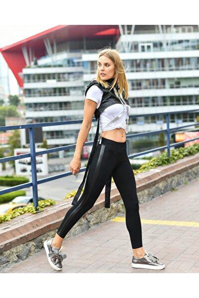 Grenj Fashion Kadın Siyah Yanı Deri Şeritli Yüksek Bel Toparlayıcı Kışlık Tayt