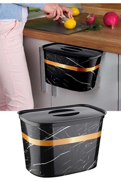 Oranj Life Kapaklı Mermer Desenli Askılı Çöp Kovası 6 lt