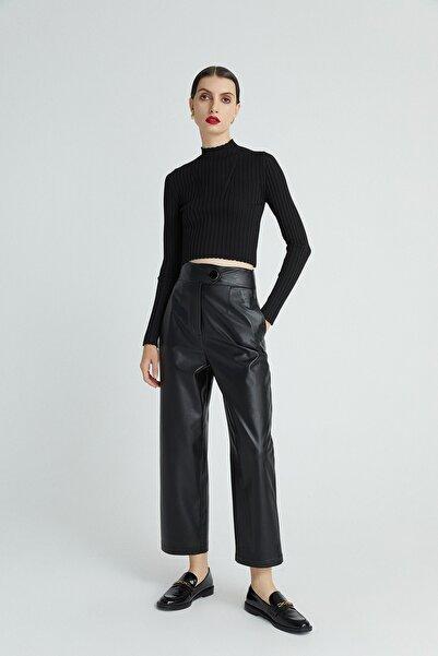 rue. Kadın Sıyah Yüksek Bel Geniş Kesim Suni Deri Pantolon 20102089