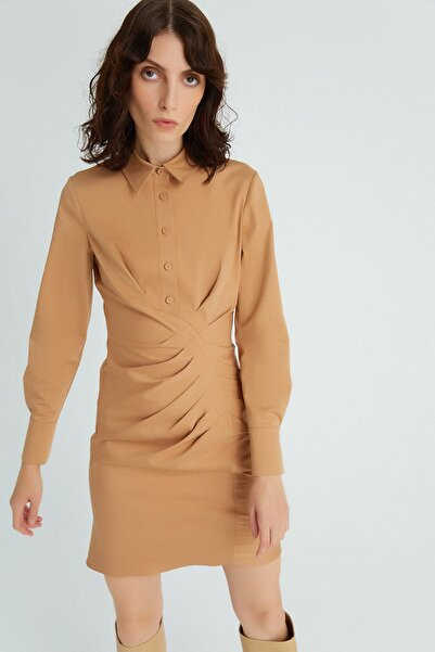 rue. Kadın Vızon Drapeli Vizon Elbise 20602056